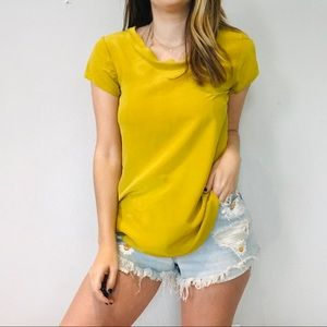 Anthro mustard silk scoop neck blouse